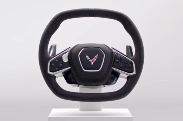 Behold, the mid-engine 2020 C8 Corvette's steering wheel