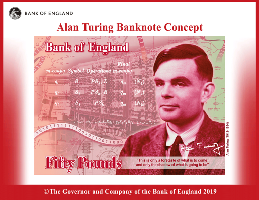 Computing pioneer and LGBT icon Alan Turing will grace the £50 note in 2021