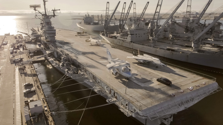 Watch the Porsche Taycan make a 0-90-0 test run on the USS Hornet flight deck