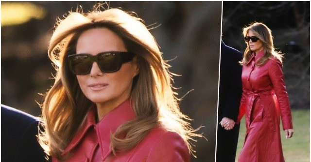 Fashion Notes: Melania Trump Is the Queen of Hearts in Red Leather Trench