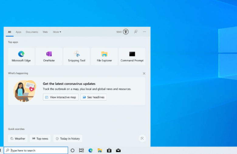 Windows 10 preview adds COVID-19 info to the search box