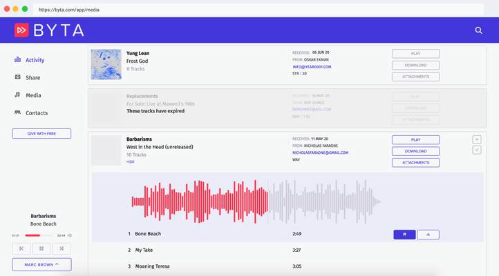 Byta, the private music sharing service for pre-releases and more, raises seed round