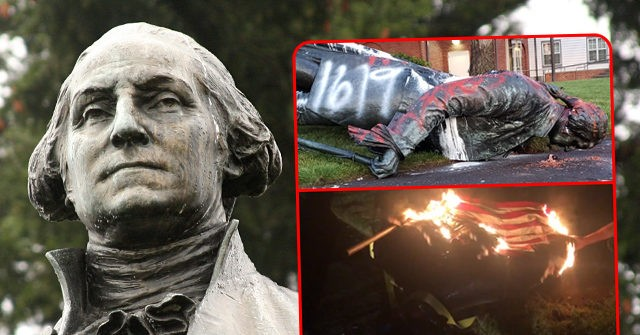 Portland: George Washington Statue Torn Down, Draped in Burning Flag