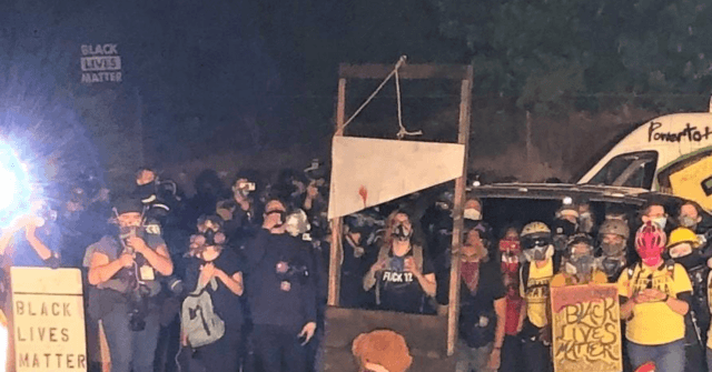 WATCH: Portland Rioters Bring Guillotine, Burn American Flags