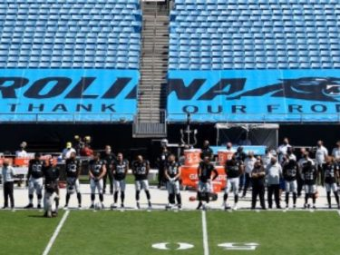 WATCH: Raiders Stand for Anthem, 17 Panthers Protest