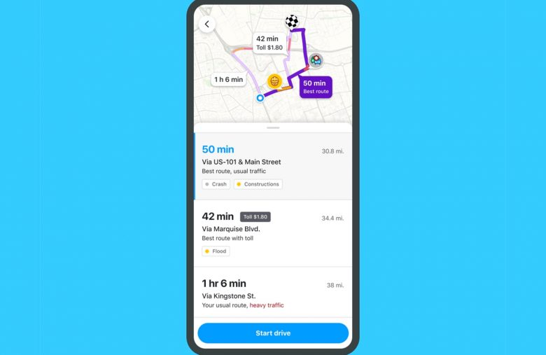 Waze will warn you about traffic jams and detours before you drive